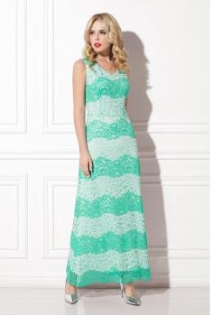 Платье ментолово-белое кружево WSS09