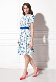 Платье белое с рисунком WSS11