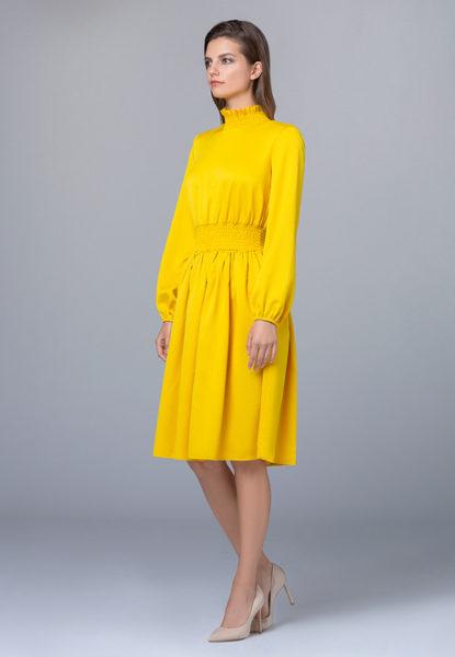 Платье желтое из сатина